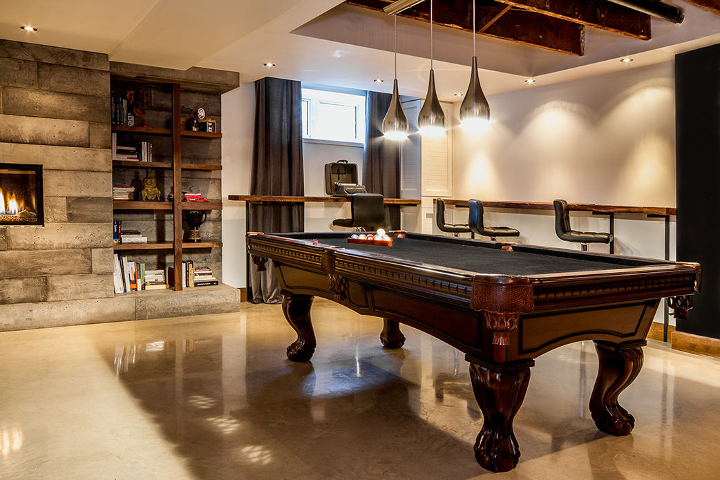 Projet duplex lamarre design d int rieur interior design architecture r - Table de salon billard ...